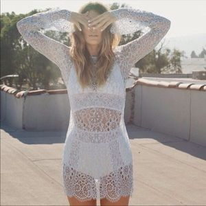 For Love and Lemons lace zip back dress XS